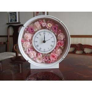 【プリザーブドフラワー】 花時計(丸型) ピンク系の上品な花時計|yamamotobizyutukan1
