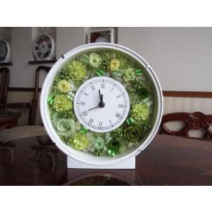 【プリザーブドフラワー】 花時計(丸型) グリーン系の上品な花時計|yamamotobizyutukan1