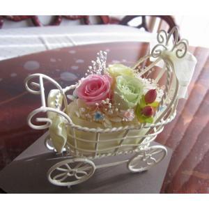 【プリザーブドフラワー】 ふんわりパステル色のベビーカー 出産祝|yamamotobizyutukan1