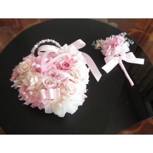 【プリザーブドフラワー】 バックブーケ&ブートニア ハート型のふんわりピンク色 ウエディング|yamamotobizyutukan1
