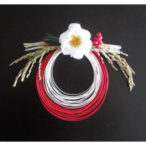 お正月飾り 紅白水引と椿の真ん丸飾り|yamamotobizyutukan1