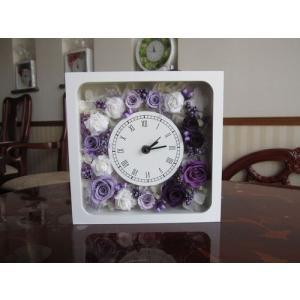 【プリザーブドフラワー】花時計(正方形) パープル ウエディングの贈呈花としても|yamamotobizyutukan1