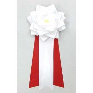 リボン記章【リボン徽章】 中リボンバラ タレ付き 白色|yamamotoningyou