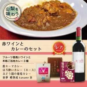 ギフトセット レトルトカレー 赤ワイン やまなし本格セット3(鹿キーマx1, ほろ酔いポークx1, ...