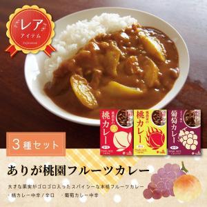 ご当地カレー セット ありが桃園フルーツカレー(桃農家の桃カレー 中辛、辛口、ぶどう園の葡萄カレー各2) Peach curry Grape curry 産地直送 yamanashi-online