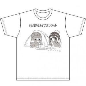 キャラクターグッズ ゆるキャン△ 秘密結社ブランケット柄Tシャツ 白 ACG|yamanashi-online