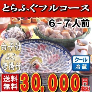 とらふぐ_トラフグ とらふぐ料理フルコース6-7人前・34cm青磁皿  下関 鍋 てっちり ふぐ鍋 セット|yamanishisuisan