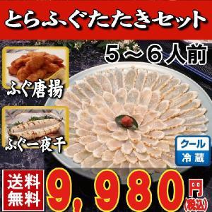 とらふぐ_トラフグ とらふぐたたき料理セット5-6人前・25cmプラ皿 唐揚げ・一夜干し付き 下関 鍋 てっちり ふぐ鍋 セット|yamanishisuisan