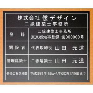 二級建築士事務所看板【アクリル艶消し黒色5mm厚】 500mmx400mm安価な二級建築士事務所看板 短納期で発送 yamato-design