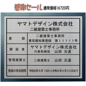 二級建築士事務所登録票 ステンレスプレート ブルー色額入り おしゃれな二級建築士事務所看板 大田区の町工場が自信をもって製作・販売。 yamato-design