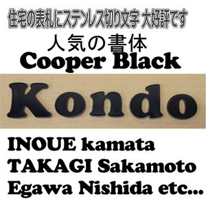 表札 おしゃれなステンレス切り文字 【5mm厚黒色切り文字表札】cooper black書体 当店のおススメ商品です。|yamato-design