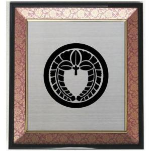家紋 丸に下り藤 色紙額入り家紋 エンジドンス仕上げ 高級感のある額入り家紋 壁掛け額入り家紋 yamato-design