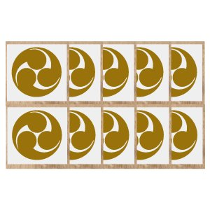 家紋シール 5cm10枚入り 家紋シール金色 家紋シール黒色 家紋シール銀色 人気の家紋シール 1〜2営業日で発送 【左三つ巴】|yamato-design