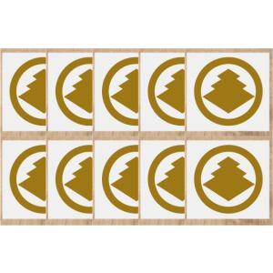家紋シール10cm 10枚入り 金色家紋シール・銀色家紋シール・黒色家紋シール 人気の家紋シール1〜2営業日短納期で発送 【丸に三階菱】|yamato-design
