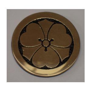丸に剣片喰 高級家紋エッチングエンブレム50mm【丸に剣片喰】 当店のお勧め商品です。|yamato-design