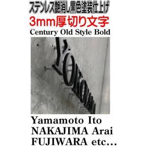 ステンレス切り文字 【Century-Old-Style-Bold】艶消し黒色塗装仕上げ 3mm厚切り文字表札 当店のおススメ商品です。|yamato-design