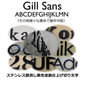 戸建て表札 切り文字 黒色 ステンレス3mm厚 切り文字表札 おしゃれな切り文字 黒色文字 書体【Gill Sans】|yamato-design