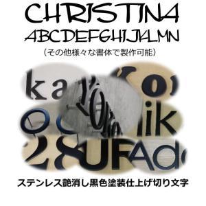 表札 おしゃれな切り文字黒色 ステンレス3mm厚 切り文字表札 おしゃれな切り文字 黒色文字 書体【CHRISTINA】|yamato-design