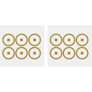 家紋シール 5cm 2枚入り  【裏六紋銭】|yamato-design