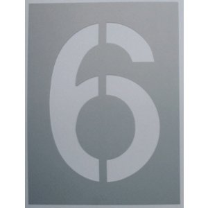 吹き付け板 刷り込み板 ステンシル 駐車場番号 数字ステンシル 数字吹き付け板 安価な吹き付け【駐車場番号】吹付け板(小)【6】|yamato-design