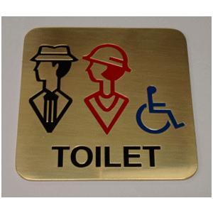 高級エッチングトイレプレート 真鍮製 男女車椅子TOILET|yamato-design