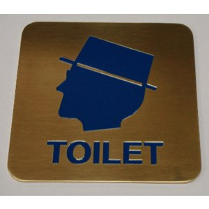 高級エッチングトイレプレート 真鍮製 男性|yamato-design
