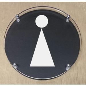 トイレプレート  二層式 丸型黒色 【透明】 10cm   トイレマーク|yamato-design