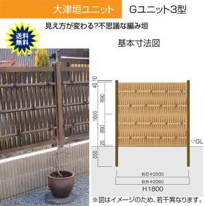人工竹垣 Gユニット3型 大津垣 基本セット H1800 丸竹・燻 仕様 (グローベン 竹 フェンス)|yamatojyu-ken