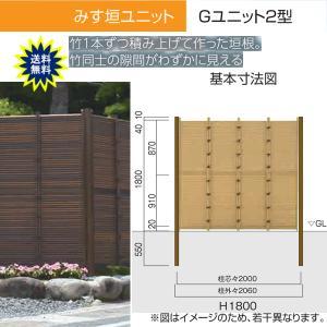 人工竹垣 Gユニット2型 みす垣 基本セット H1800 丸竹・燻 仕様 (グローベン 竹 フェンス)|yamatojyu-ken