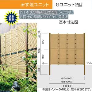 人工竹垣 Gユニット2型 みす垣 基本セット H1800 丸竹・黒 仕様 (グローベン 竹 フェンス)|yamatojyu-ken