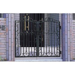 門扉 門柱タイプ ファンセル8型 両開き 0610 タッチ錠 アイアン 鋳物 三協アルミ yamatojyu-ken