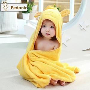 【Pedonir】赤ちゃん ベビー バスローブ ポンチョ マント 子供 おくるみ フード付き お風呂 プール (イエロー)|yamatoko