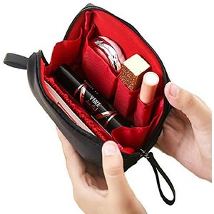 [ウレギッシュ] 化粧ポーチ コンパクト メイクポーチ 化粧品 化粧道具 収納 バッグ (ブラック in レッド)|yamatoko
