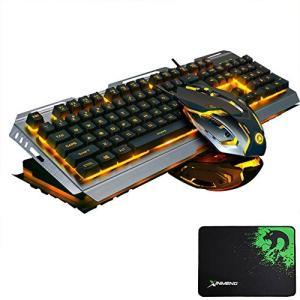 FELiCONRV1 ゲーミングキーボード マウス セット 104キー 英語配列 バックライト アンチゴースト 有線 マウスパッド付 (ブラック&シル|yamatoko