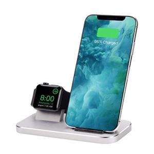 Qi ワイヤレス充電器急速 2 in 1 アルミ合金充電スタンドのために適した Apple Watch 5/4/3/2/1/iphone 11/iph|yamatoko