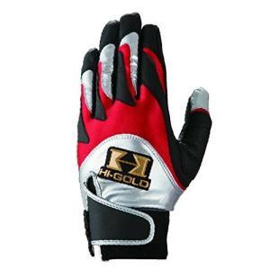 メール便送料無料 ハイゴールド 野球 バッテング手袋 一般 SH-200 ブラック×レッド×シルバー yamazakisports-ysp