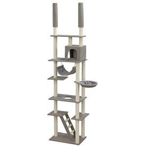 アイリスプラザ 猫用おもちゃ キャットタワー 突っ張り 組み立て品 グレー CCCT-4060T|yamazoo-store