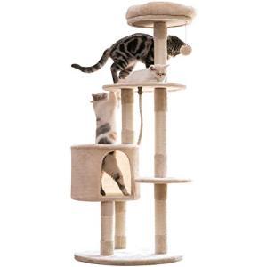 Mwpo キャットタワー 猫タワー 麻紐 多頭猫遊び最適 コンパクト 匂いなし 140cm 021A|yamazoo-store