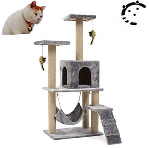 サンパーシー 階段付 猫タワー キャットタワー キャット ハンモック タワー 麻紐 頑丈 爪とぎ 遊び場 玩具 大型 ネコタワー (グレー)|yamazoo-store
