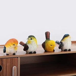 Salinr 鳥の置物 可愛い 森の小鳥セット 4個セット ガーデンオーナメント お庭がにぎやか 樹脂 現実的 ホーム ガーデン 庭の装飾|yamazoo-store