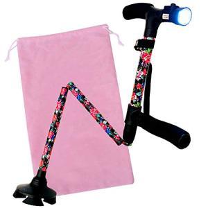 K&R mercado 杖 折りたたみ 軽量 女性用 つえ 介護 ステッキ おしゃれ 4点 ゴム足 花柄 5段階調節 伸縮式 自立式 杖長さ|yamazoo-store