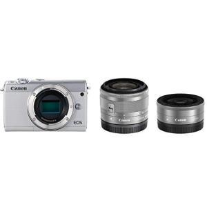 Canon ミラーレス一眼カメラ EOS M100 ダブルレンズキット ホワイト EOSM100WH-WLK|yanagoma-store