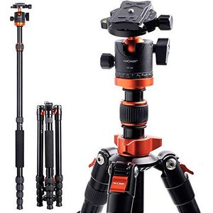 K&F Concept カメラ三脚 一眼レフ 171cm 5段階伸縮 三脚 一脚 自由雲台 360度回転 軽量 アルミ コンパクト収納 クイックシュー|yanagoma-store