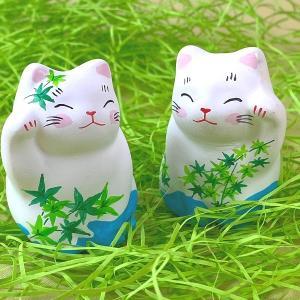 季節の招き猫 青紅葉ペア招き猫 初夏 お祝いやギフトに 猫 谷中堂|yanakado