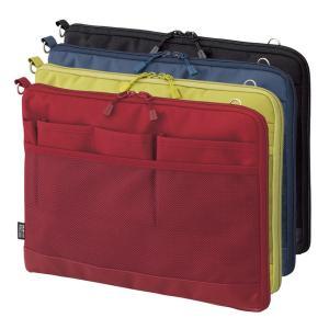 バッグインバッグ ヨコ型 ポーチ キャリングポーチ ポシェット 携帯ケース トラベルグッズ Lサイズ 薄型 軽量 パスポート入れ 大きめ 小物入れ 文具小物 無地|yandk