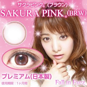 Fall in Eyez日本製PREMIUM SAKURA PINK(Brown)/サクラ ピンク(ブラウン)度あり・度なし1箱2枚入り/1box2lenses/1month set|yanjing