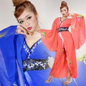 キャバドレス キャバスーツ 0114カラフルビジューシフォンロング 着物ドレス|yapy