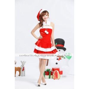 サンタ コスプレ 衣装/レディース/マフラー 2層フリル 赤 サンタ衣装Yapy9465|yapy