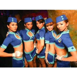 コスプレ/セクシー系グローブ付のブルーのセーラー/スチュワーデス コスプレ衣装|yapy