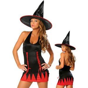 ハロウィン衣装 魔女コスプレ 8179 サイドスピンドルリボン ホルター魔女ワンピ|yapy